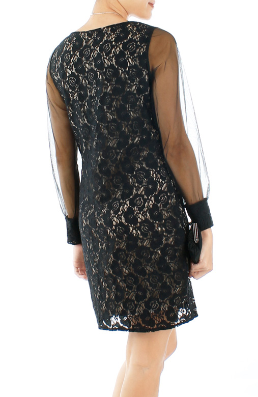 Vintage-inspired Dark Romance Lace & Mesh Dress