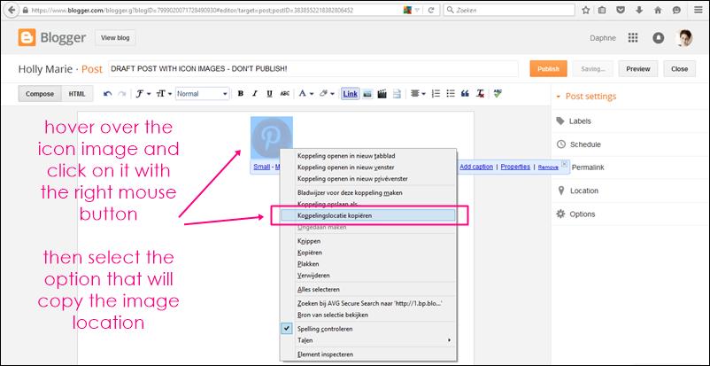 copy image location in blogger