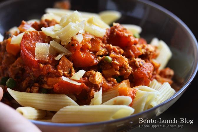 bento lunch blog rezept tofuhack pasta mit ger steten kr utern tomate. Black Bedroom Furniture Sets. Home Design Ideas