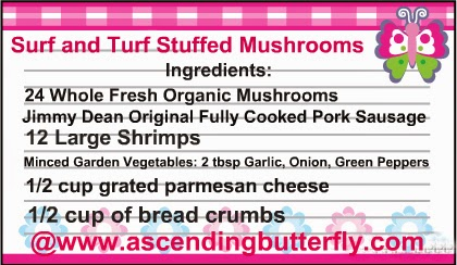 Surf and Turf Stuffed Mushrooms Printable Recipe Card Ingredients