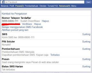 opsi pemulihan akun facebook sms