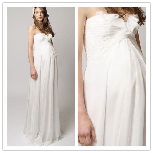 Chiffon Strapless Sweetheart Empire A-Line Long Maternity Wedding Dress