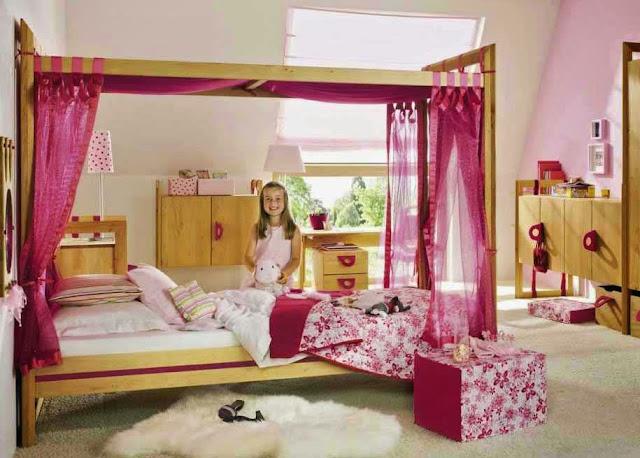 Foto design interior kamar tidur anak perempuan