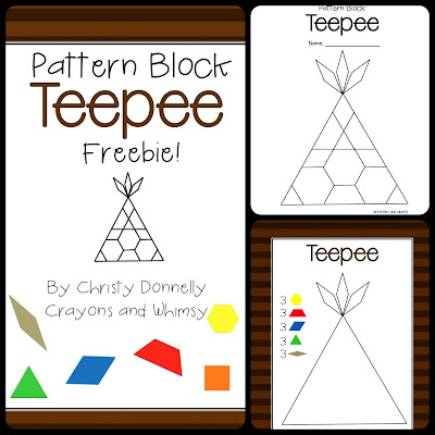 Pattern Block Teepee Freebie Crayons And Whimsy