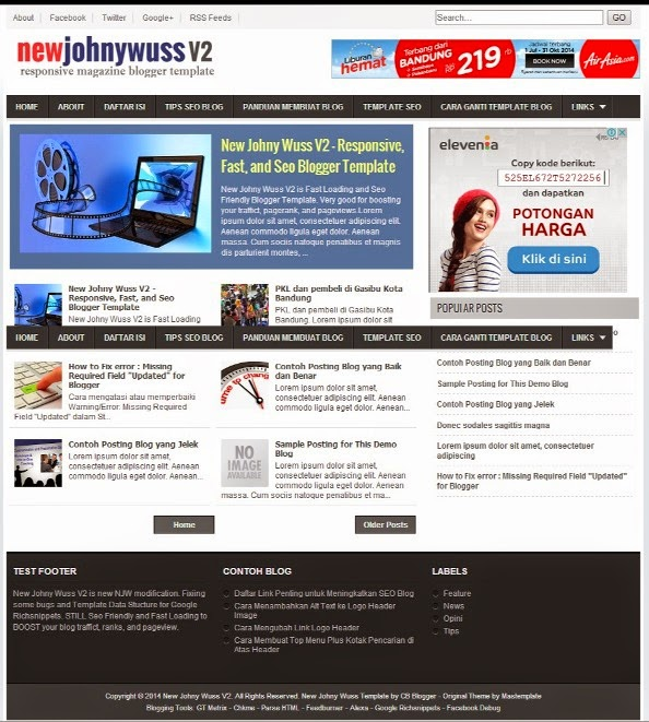 New Johny Wuss V2 SEO Responsive Blogger Template