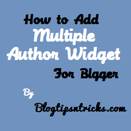 How To Add Multiple Author Bio Widget For Blogger blog