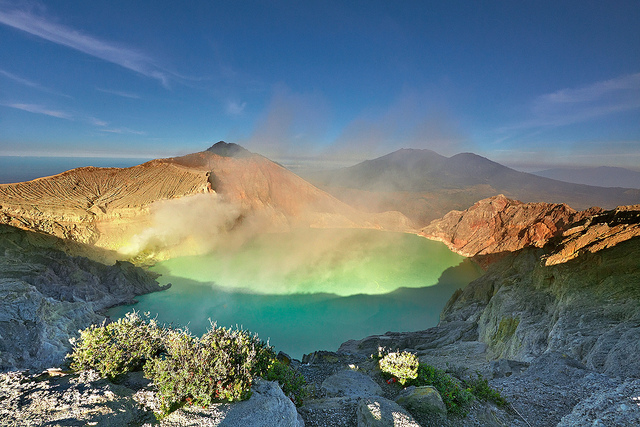 The world's largest acidic volcanic crater lake, Ijen Crater. Kawah Ijen (Ijen Crater), East Java, Indonesia