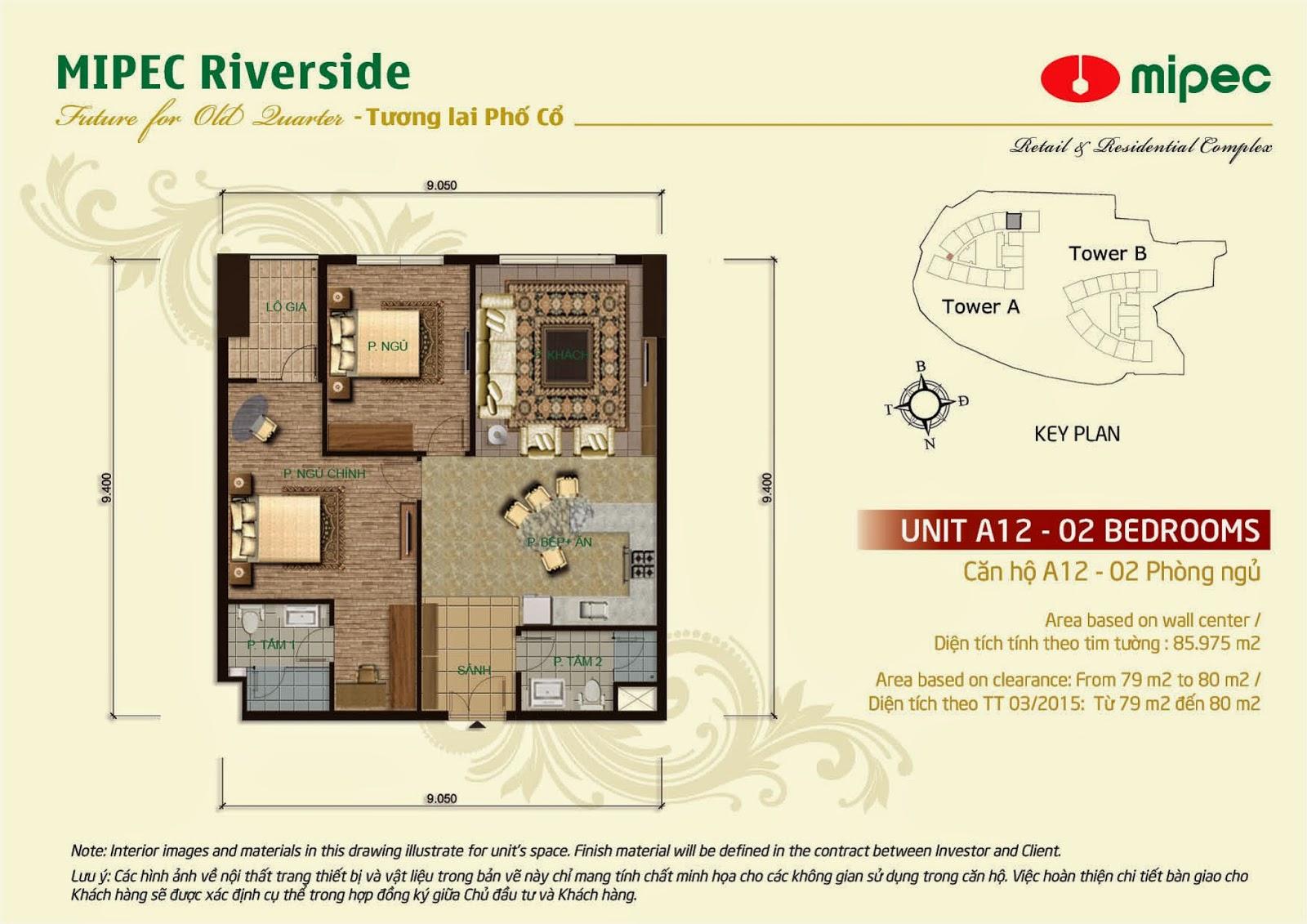 Căn A12 - 85m Mipec Riverside
