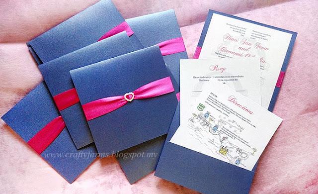 Pocket Wedding Invitation Card with Ribbon and Pearl Rhinestone