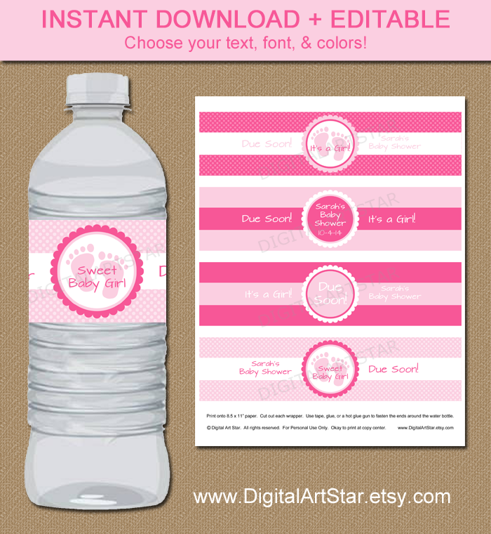 editable printable pink baby shower water bottle labels