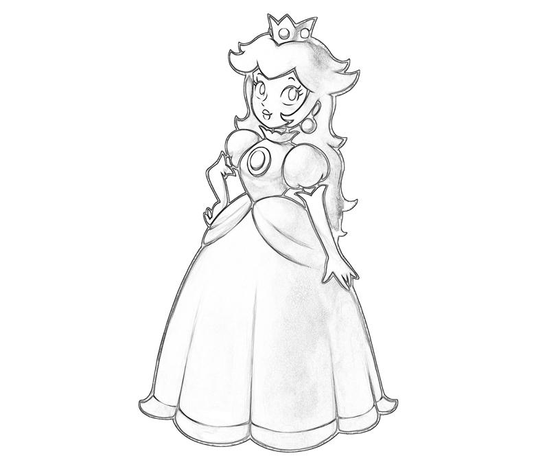 Printable Princess Peach Profil Coloring Pages 3