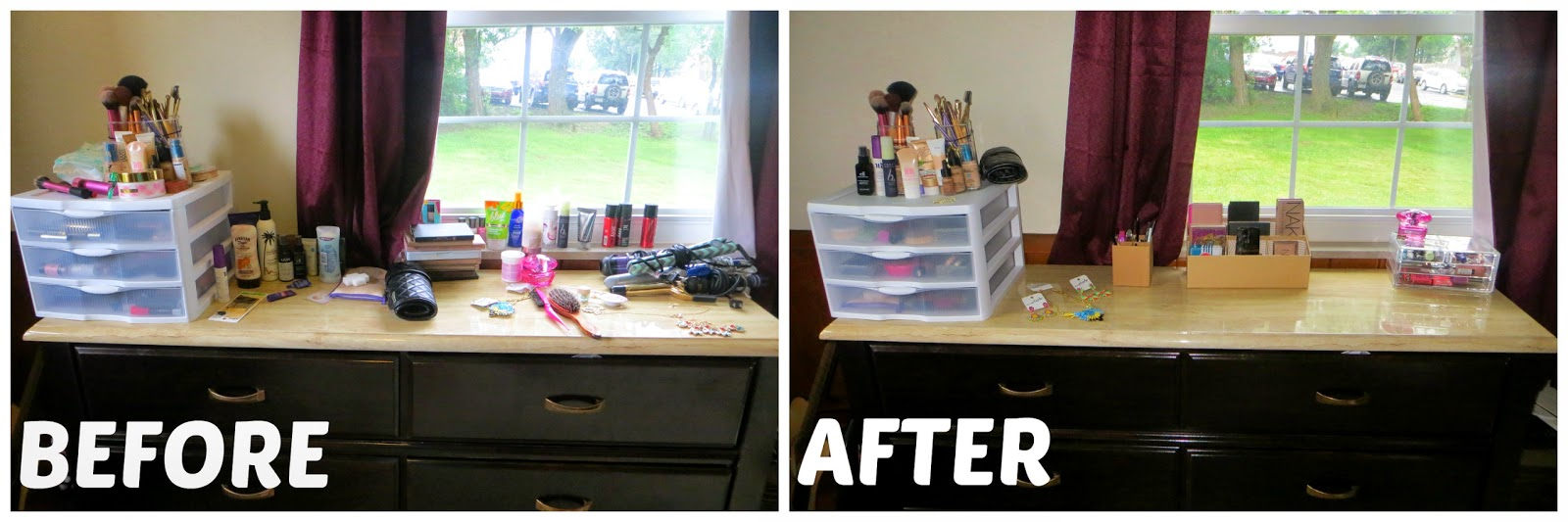 how to organize makeup on your dresser image