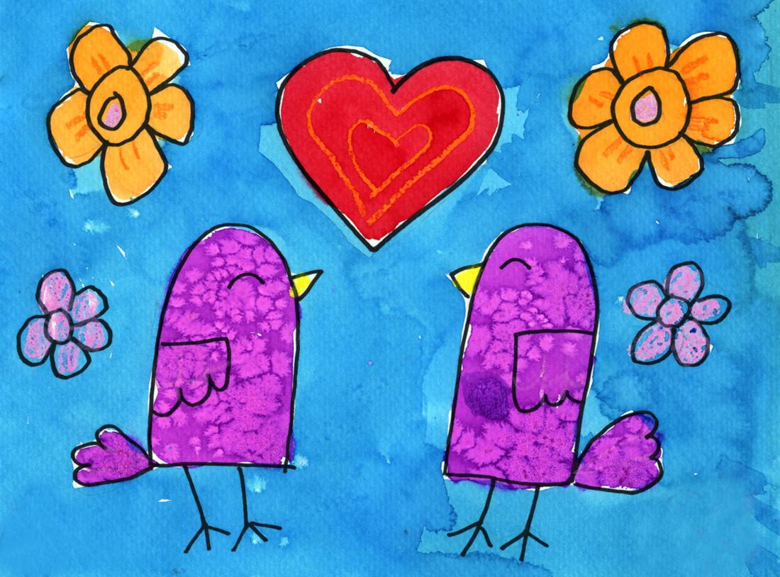 Symmetrical Valentine Birds Art Projects For Kids