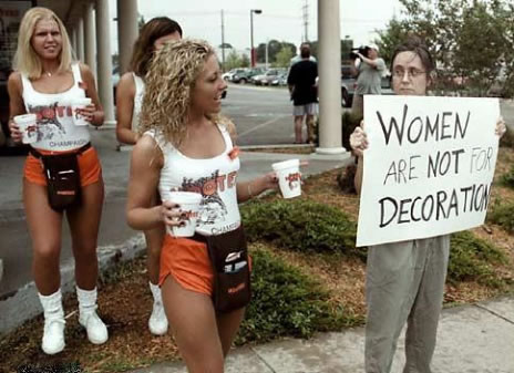 Woman are not for Decoration, Hooters woman