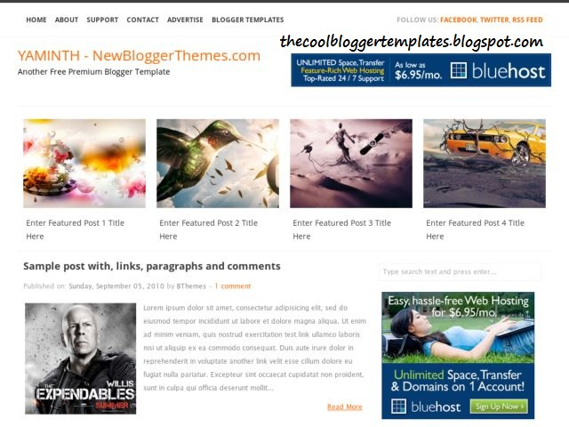 Yaminth Blogger Template 2013