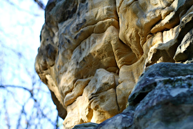 soft limestone and soft colors at Mill Bluff State Park, WI