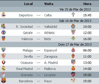 Liga BBVA Calendario Jornada 28 2012 2013