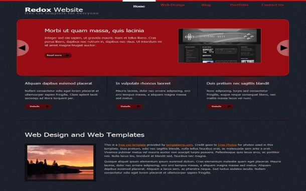 Red Black Jquery Free HTML CSS Website Template