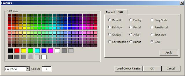 Maptek Vulcan cad color palette