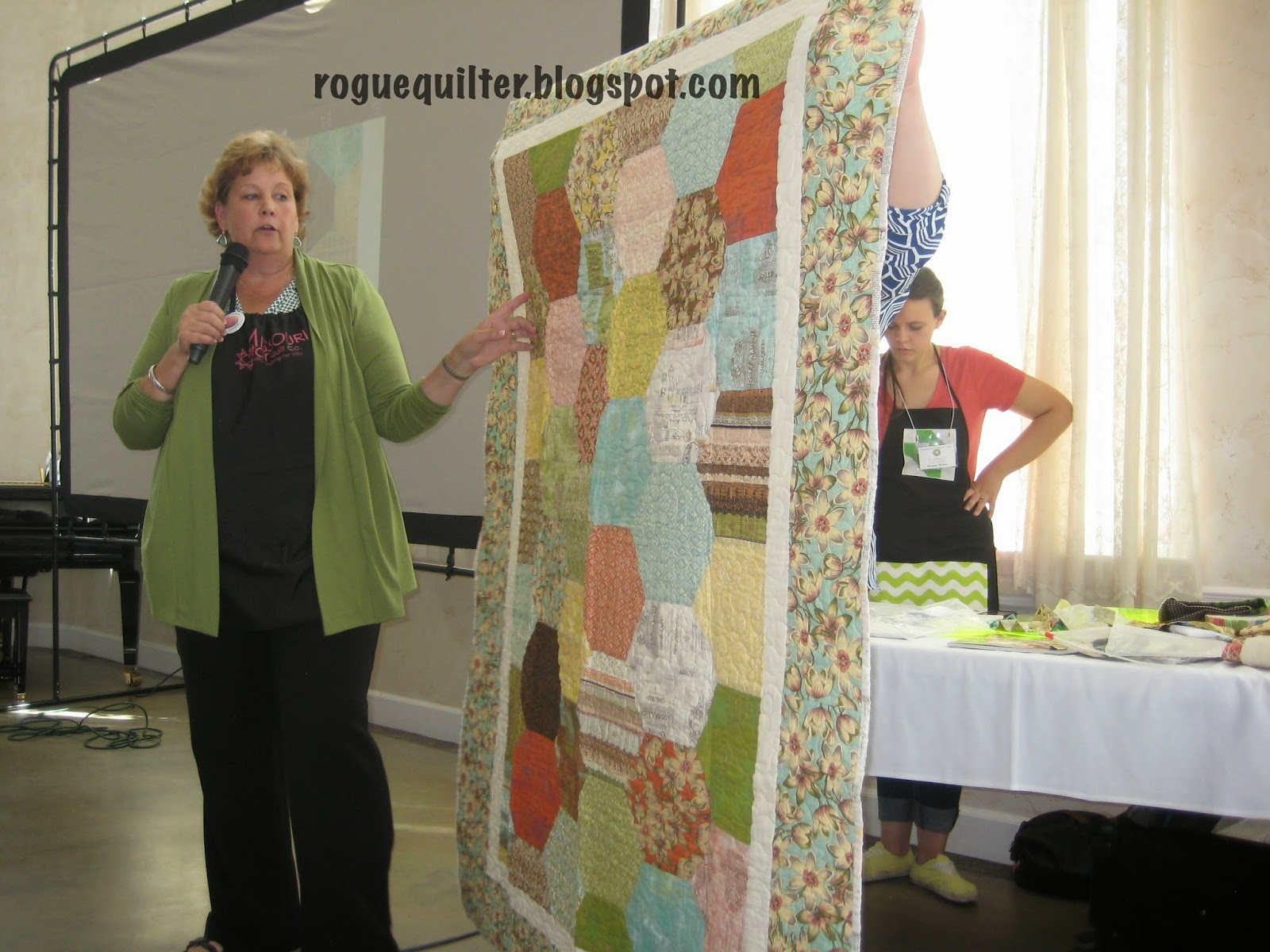 Rogue quilter quilting at the castle with jenny doan warning we saw a lovely collection of quilts were taught with some in person tutorials were entertained with funny happenings like when she broke her leg baditri Choice Image