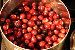 Cranberries pre-cooking.
