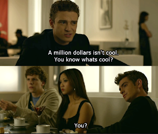 the social network a million dollars is not cool mark zuckerberg facebook, Sean Parker, mark zuckerberg, sean parker facebook, funny movie captions