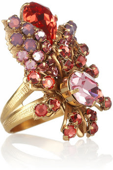 Je Ainse 24-carat gold-plated Swarovski crystal ring