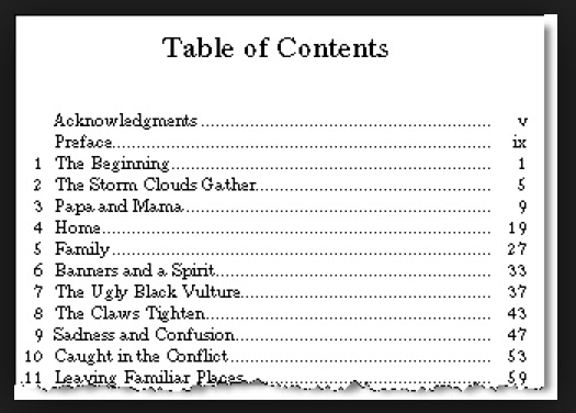how table of contents look ike