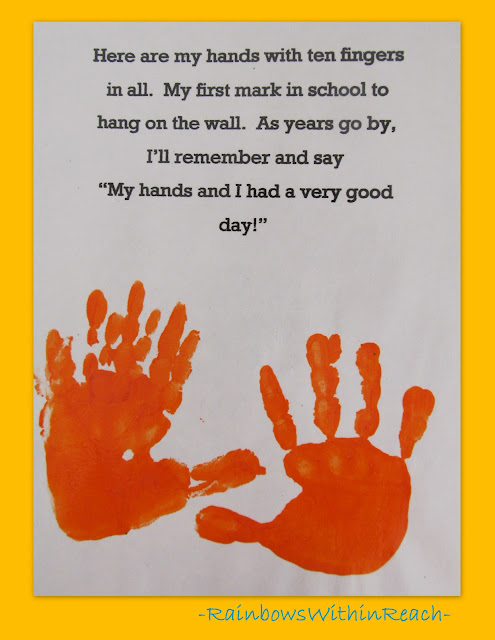 photo of: Handprint poem for preschool, handprint rhyme for kindergarten graduation