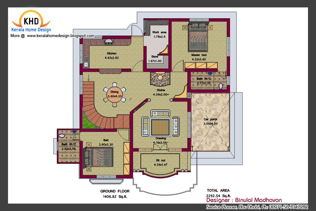 House Plan and Elevation  2292 Sq. Ft.  Kerala home design and floor