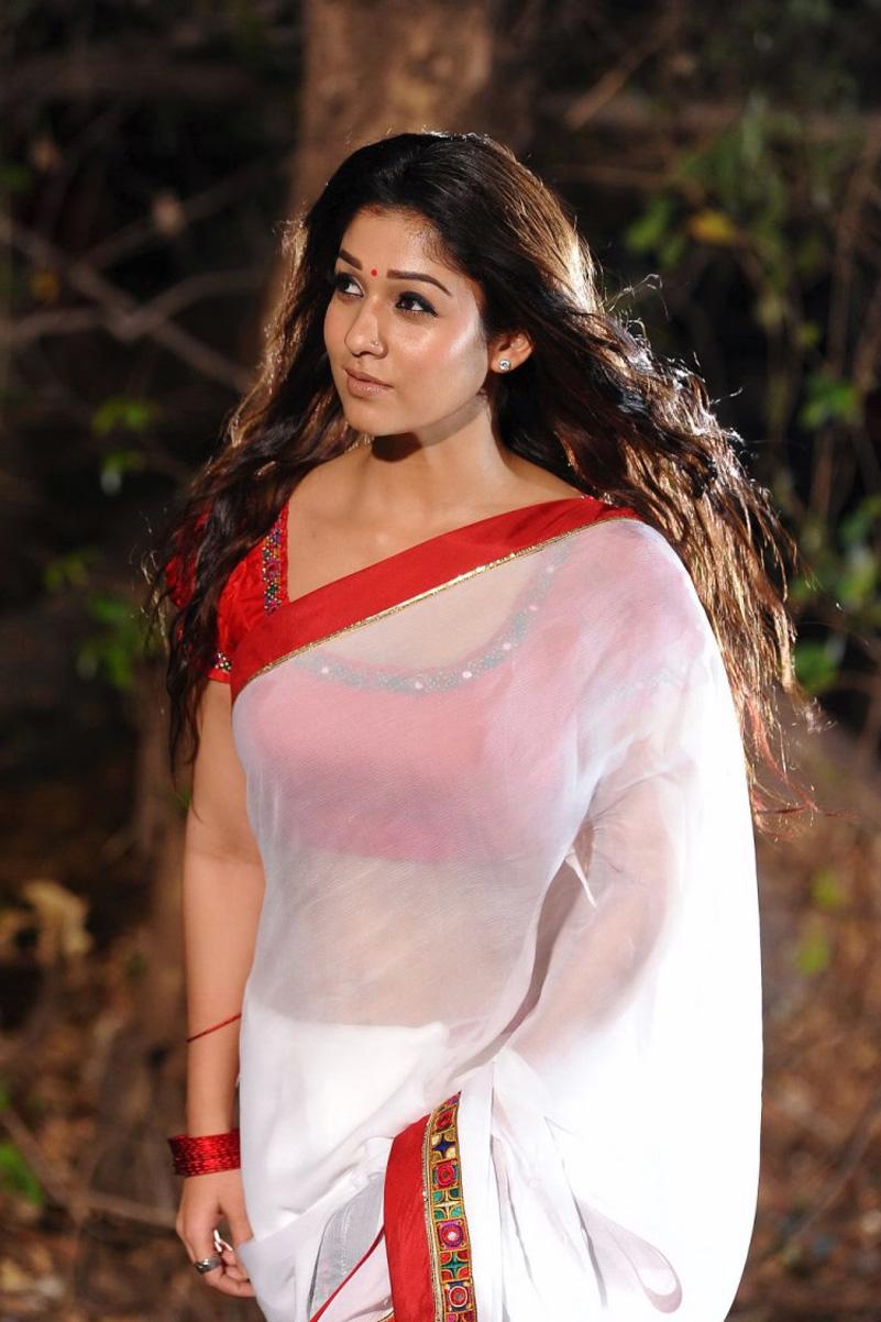 Nayantara Hot Navel Show Stills In White Saree From Kvj