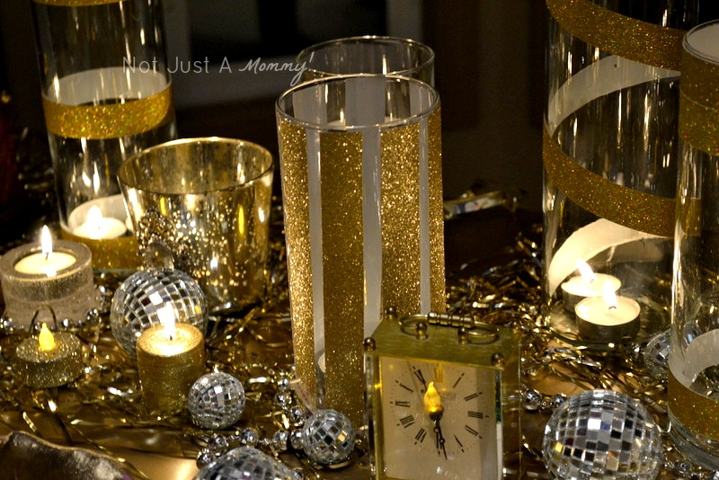 colorful and glittery new year's eve party glitter candles