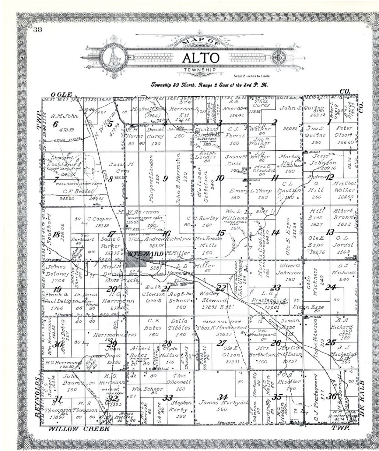 Illinois lee county lee - Here Is The 1921 Plat Map For Alto Township Lee County Illinois