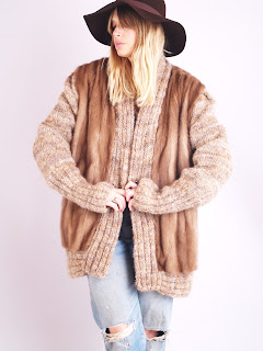 Vintage 1970's bohemian style brown mink fur sweater coat.