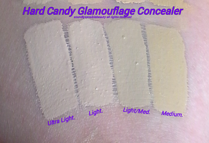 Hard Candy Glamouflage Heavy Duty Concealer; Review & Swatches of Shades Ultra Light, Light, Medium, Tan and Light/Medium