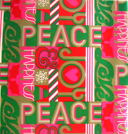 vintage Christmas gift wrap peace love happiness