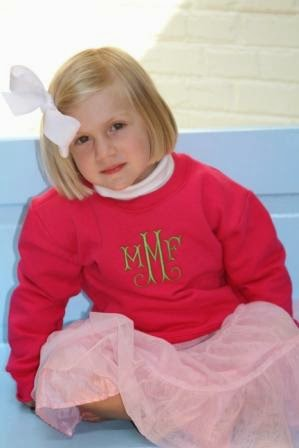 hot pink girls monogrammed sweatshirt