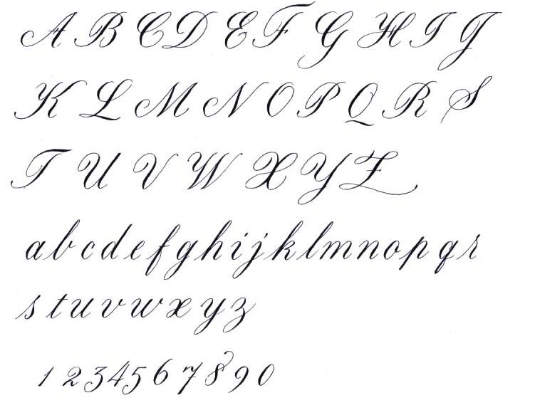 Calligraphy alphabet cursive calligraphy alphabet Handwriting calligraphy