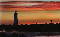 Deniz Fenerli Gün Batımı Resim Manzarası