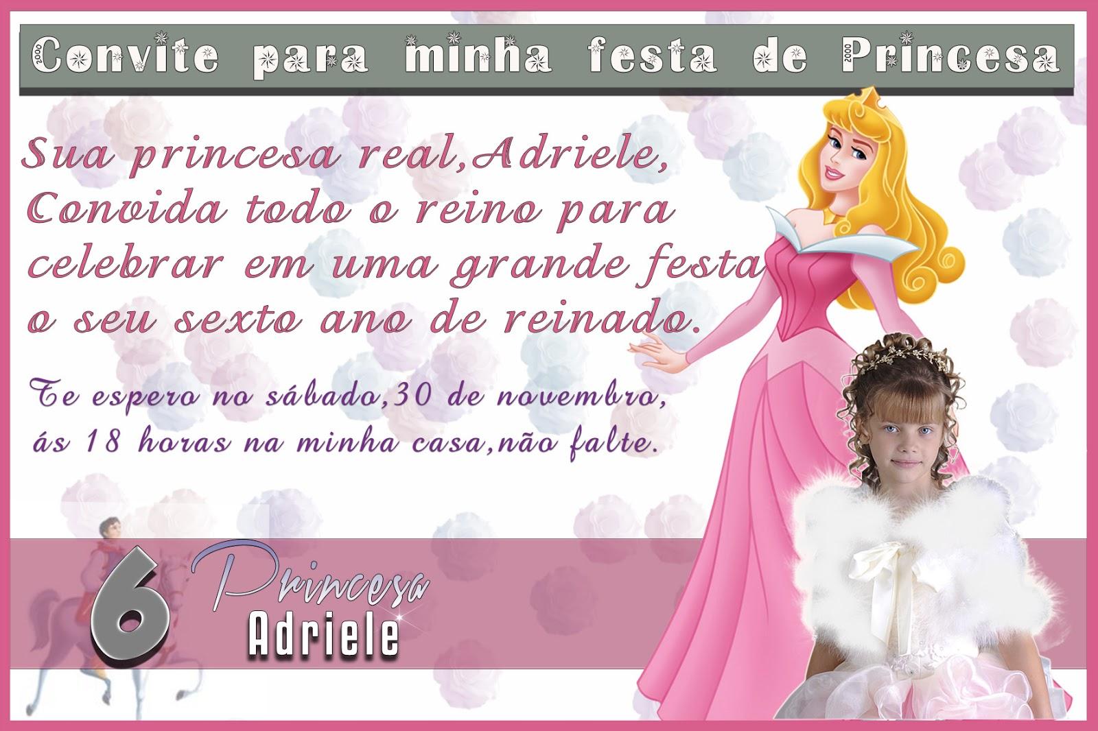 Modelo De Convite De Aniversario PSD   Princesas