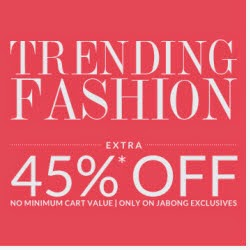 Jabong : Clothing, Shoes, Accesories, Bags & Home Furnishing upto 60% off + 45% off no Minimum purchase from Rs.56