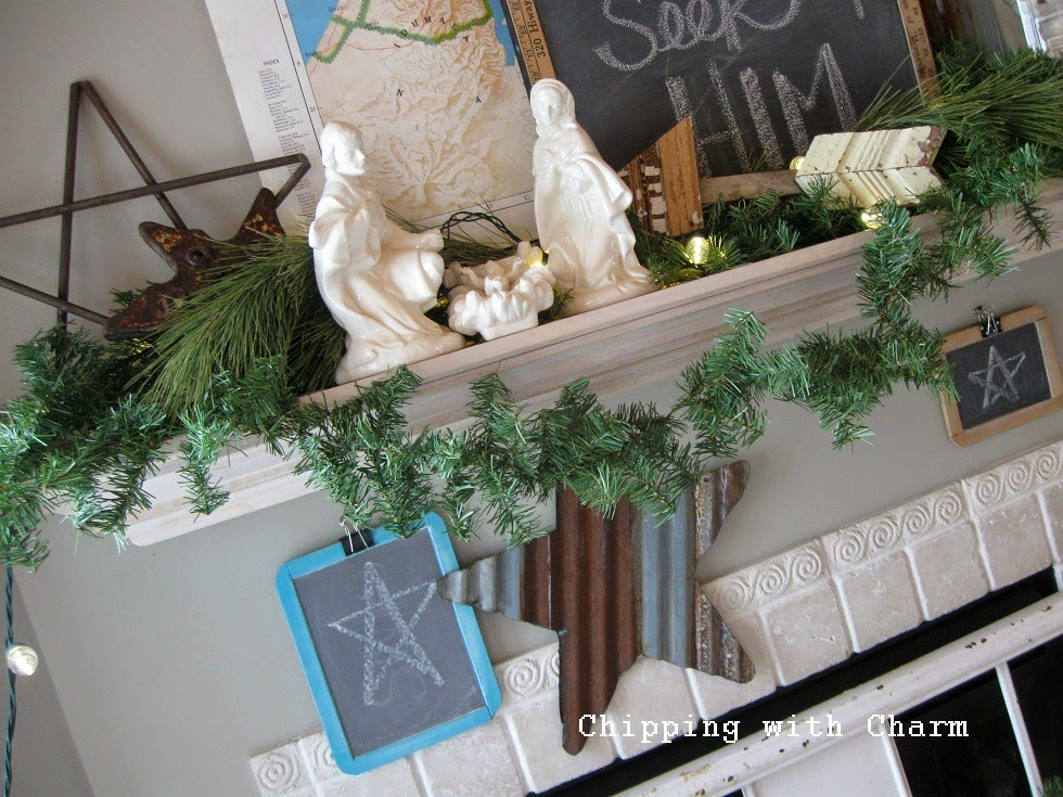 Chipping with Charm: Star of Christmas Mantel 2014...http://www.chippingwithcharm.blogspot.com/