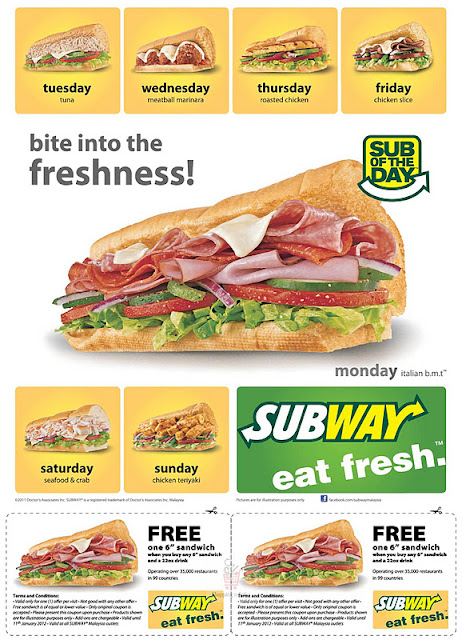 Subway Coupons December 2014