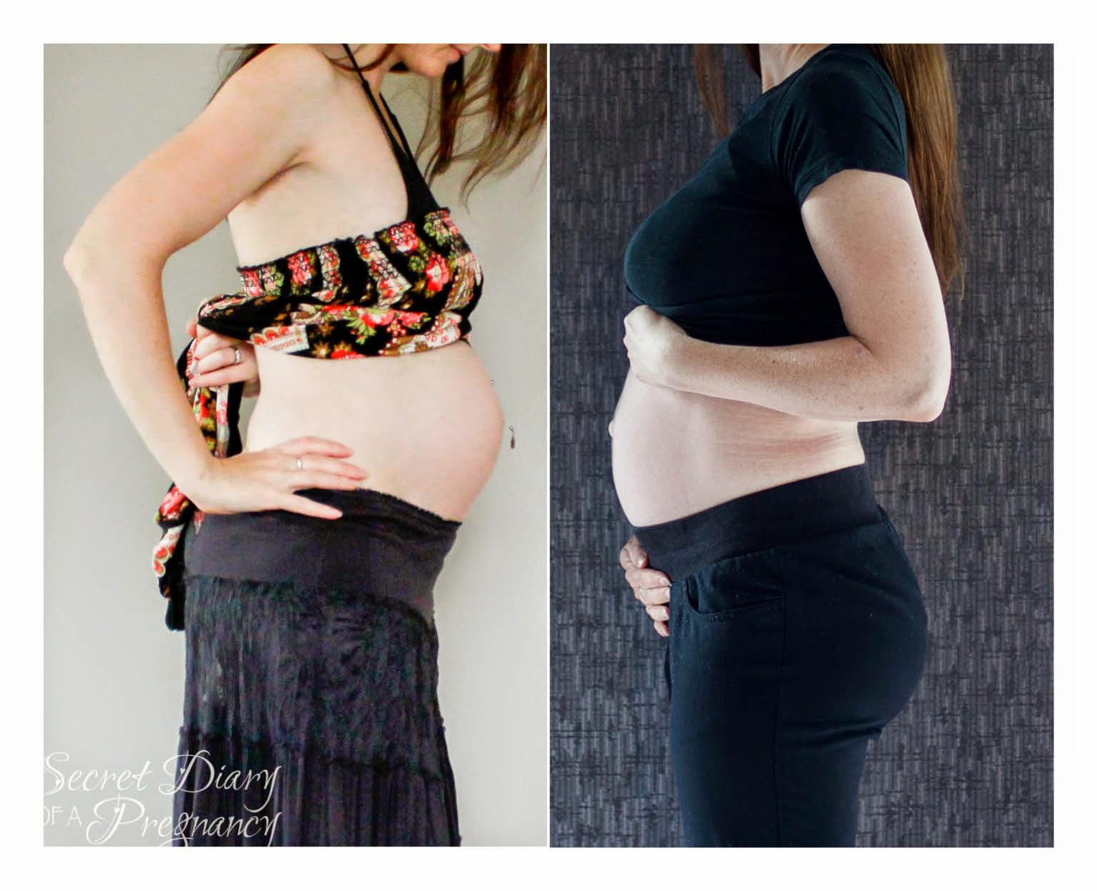 6 months pregnant comparison pregnancy 1 2 side view