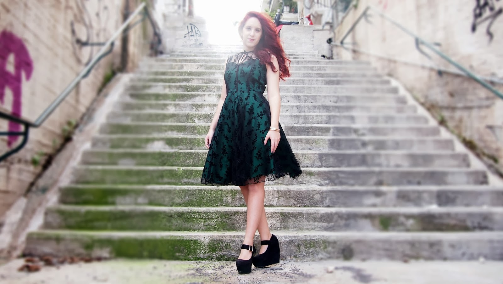 redhead, spotlights on the redhead, voodoo vixen, voodoo, vixen, lace, green dress, lace dress, migato, dyrberg/kern, dyrberg kern, fashion, model,