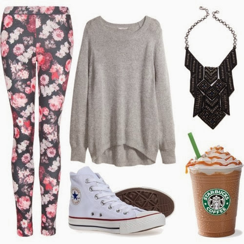 Grey oversize sweater, flowery pants and shoes for fall