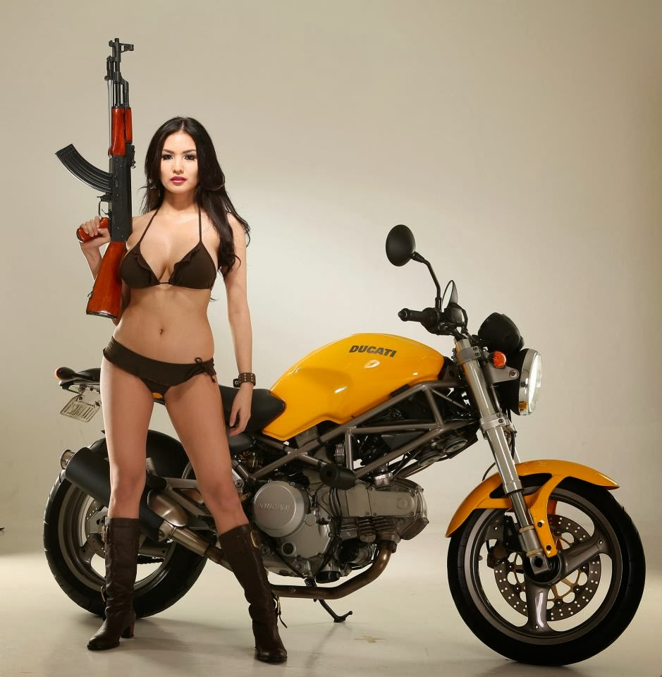 abby poblador bikini with ducati motorcycle 04