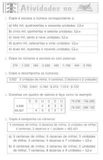 SISTEMA DE NUMERA    O DECIMAL ORDENS E CLASSES EXERC  CIOS ATIVIDADES