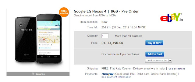 Google Nexus 4 - From eBay