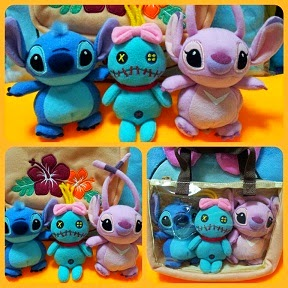 JAPAN DISNEYLAND BEANIES SCRUMP+STITCH+ANGEL BAG SET